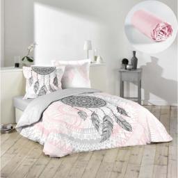 Pack parure de couette 200x200 cm Namaste + drap housse 140x190 Rose