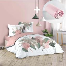 Pack parure de couette 220x240 cm 100% coton Arendelle + drap housse 140x190 cm Rose