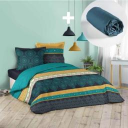 Pack parure de couette 220x240 cm 100% coton Majorelle + drap housse 140x190 cm Bleu