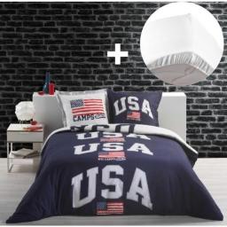 Pack parure de couette 220x240 cm 100% coton USA + drap housse 140x190 cm Blanc