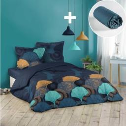 Pack parure de couette 220x240 cm Belle nuit + drap housse 140x190 Bleu