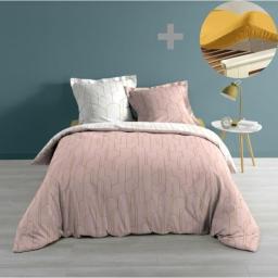 Pack parure de couette 220x240 cm Domea rose + drap housse 140x190 Jaune