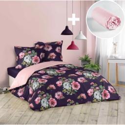 Pack parure de couette 220x240 cm Flower life + drap housse 140x190 Rose