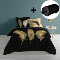Pack parure de couette 220x240 cm  Himalalove+ drap housse 140x190 Noir