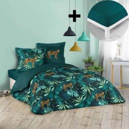 Pack parure de couette 260x240 cm 100% coton Blue garden + drap housse 160x200 cm Pétrole