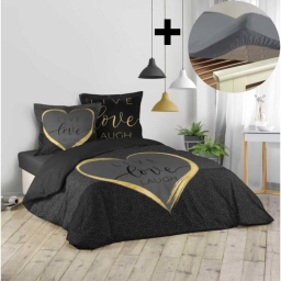 Pack parure de couette 260x240 cm 100% coton Crazy love + drap housse 160x200 cm Gris