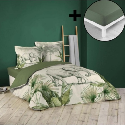 Pack parure de couette 260x240 cm 100% coton Jungle + drap housse 160x200 cm Kaki