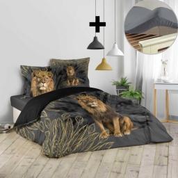 Pack parure de couette 260x240 cm Jungoleo + drap housse 160x200 gris