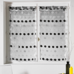 Paire droite passants 2 x 60 x 120 cm organza jacquard pastilla Noir