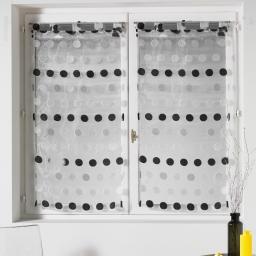 Paire droite passants 2 x 60 x 160 cm organza jacquard pastilla Noir