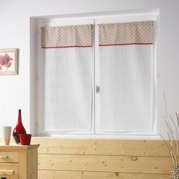 Paire droite passe tringle 2 x 60 x 160 cm voile rayures+top imprime pauline rou Rouge
