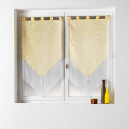 Paire pompon passants 2 x 60 x 120 cm voile double imprime/uni tunis Jaune