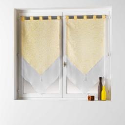 Paire pompon passants 2 x 60 x 160 cm voile double imprime/uni tunis Jaune