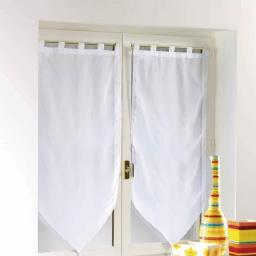 Paire pompon passants 2 x 60 x 160 cm voile uni voiline Blanc