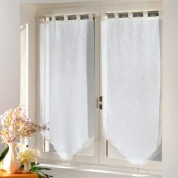Paire pompon passants 2 x 60 x 90 cm luminette unie luminea Blanc