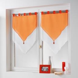 Paire pompon passants 2 x 60 x 90 cm voile bicolore duo Blanc/Mandarine