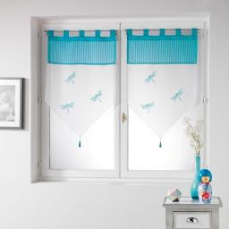 Paire pompon passants 2 x 60 x 90 cm voile brode top raye libellula Bleu