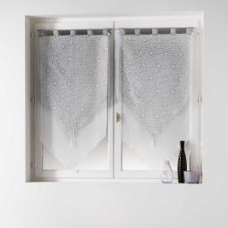 Paire pompon passants 2 x 60 x 90 cm voile double imprime/uni tunis Gris
