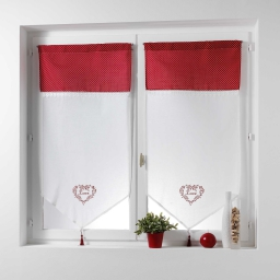 Paire pompon passe tringle 2x60x160 cm voile brode+top imprime home love Rouge