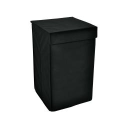 panier a linge rectangulaire ext.noir/int.gris 33x33xh55cm - 60l - licence d&co