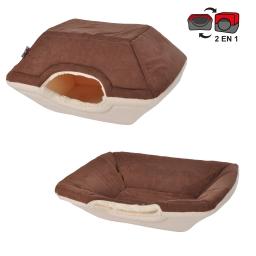 panier chien 2 en 1 50*40*34cm design polaire coloris chocolat/beige