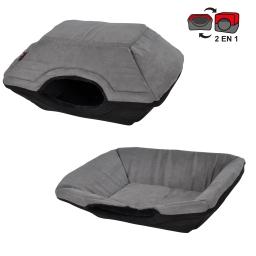 panier chien 2 en 1 50*40*34cm design polaire coloris noir/gris