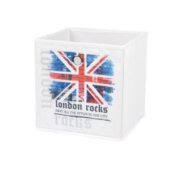 panier de rangement 26*26*26cm douceur d'interieur theme london rocks 100% polye