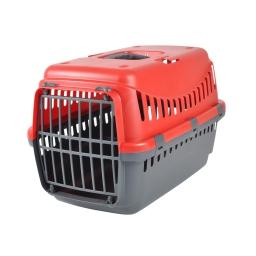 panier de transport pour animaux en plastique gris + couvercle rouge 46*31*h.32