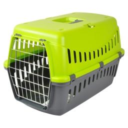 panier de transport pr animaux en plastique gris+couvercle vert anis 58*38*h38cm