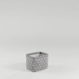 Paniere 11 x 11 cm x ht 15 cm polycoton imprime alicia Gris/Blanc