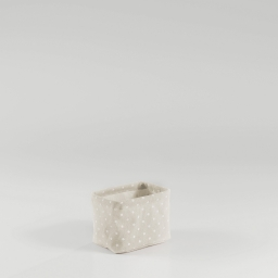 Paniere 11 x 11 cm x ht 15 cm polycoton imprime alicia Lin/Blanc