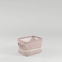 Paniere 21 x 17 cm x ht 14 cm polycoton imprime alicia Rose/Blanc
