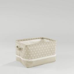 Paniere 30 x 23 cm x ht 18 cm polycoton imprime alicia Lin/Blanc