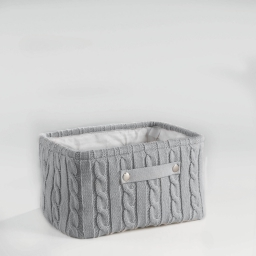 Paniere 36 x 26 cm x ht 20 cm tricot lainy Gris