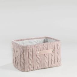 Paniere 36 x 26 cm x ht 20 cm tricot lainy Rose