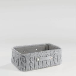 Paniere 38 x 26 cm x ht 13 cm tricot lainy Gris