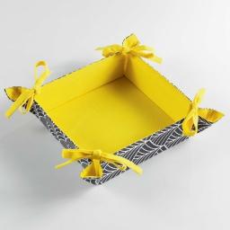 Paniere a pain 32 x 32 cm coton imprime modern style Jaune