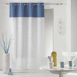 Panneau a oeillets 140 x 240 cm chambray uni+voile sable newton Bleu