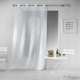 Panneau a oeillets 140 x 240 cm effet lin tisse haltona Blanc