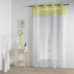 Panneau a oeillets 140 x 240 cm voile brode top raye chrysalide Anis