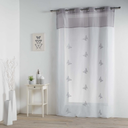 Panneau a oeillets 140 x 240 cm voile brode top raye chrysalide Gris