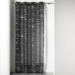 Panneau a oeillets 140 x 240 cm voile imprime argent courrier Noir
