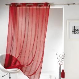 Panneau a oeillets 140 x 240 cm voile sable bandes chenille mirano Rouge