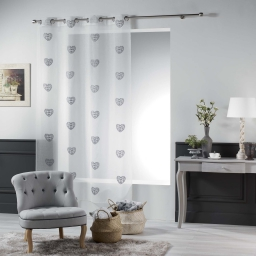 Panneau a oeillets 140 x 240 cm voile sable brode sweety heart Gris