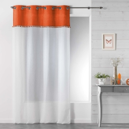 Panneau a oeillets 140 x 240 cm voile sable+franges alixia Orange
