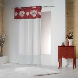 Panneau a oeillets 140 x 240 cm voile+top coton+fantaisie edelweiss Rouge
