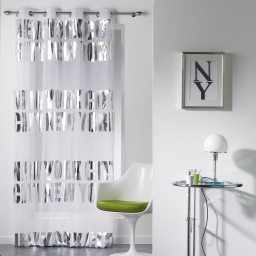 Panneau a oeillets 140 x 260 cm voile imp. argent ny silver  des. place Blanc