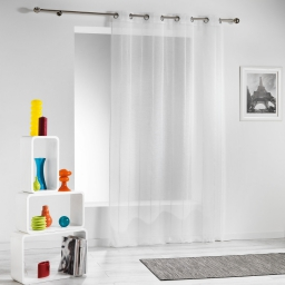 Panneau a oeillets 140 x 260 cm voile sable raye modeli Blanc