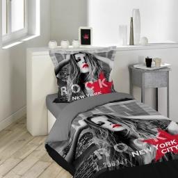 Parure 2 p. 140 x 200 cm imprime 42 fils dessin place diva Noir/Rouge