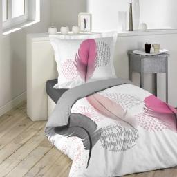 parure 2 p. 140 x 200 cm imprime 42 fils dessin place pink dream